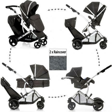 NEW HAUCK DUETT 2 DOUBLE TANDEM TWIN PUSHCHAIR PRAM BUGGY TRAVEL SYSTEM+CARSEAT+Adaptors